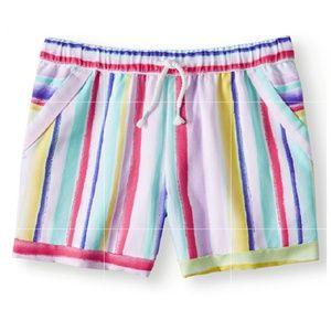 NWT - Girls Rainbow Stripes Pull-on Shorts.
